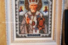 1_IMG-20190629-WОбраза в каменьях икона Святой Николай Чудотворец вышитая иконаA0040