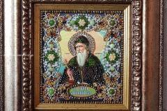 Образа в каменьях икона Святой Антоний вышитая работа
