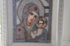Образа в каменьях Казанская Божия Матерь вышитая икона