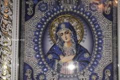 Образа в каменьях икона Богородица Умиление вышитая работа