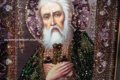 Образа в каменьях икона Преподобный Серафим Саровский вышитая икона