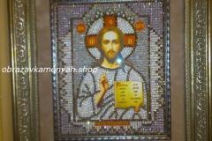 Образа в каменьях икона Господь Вседержитель фото готовой работы