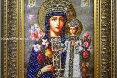 Образа в каменьях икона Богородица Неувядаемый цвет - готовая работа