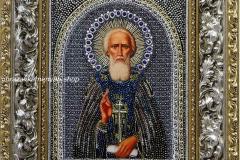 Образа в каменьях икона Сергий Радонежский - готовая работа