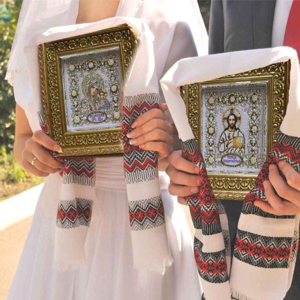 Образа в каменьях икона Господь Вседержитель венчальная арт. 77-В-02