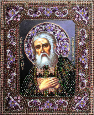 Образа в каменьях икона Преподобный Серафим Саровский арт. 7738