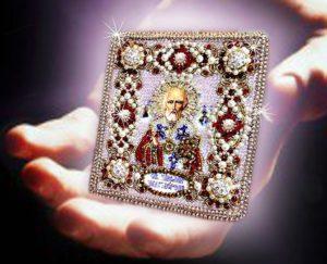 Образа в каменьях оберег с молитвой Николай Чудотворец арт. 77-ю-03