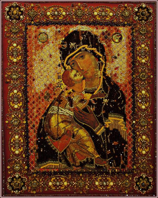 Образа в каменьях Владимирская Божия Матерь (храмовая икона) арт. 7755