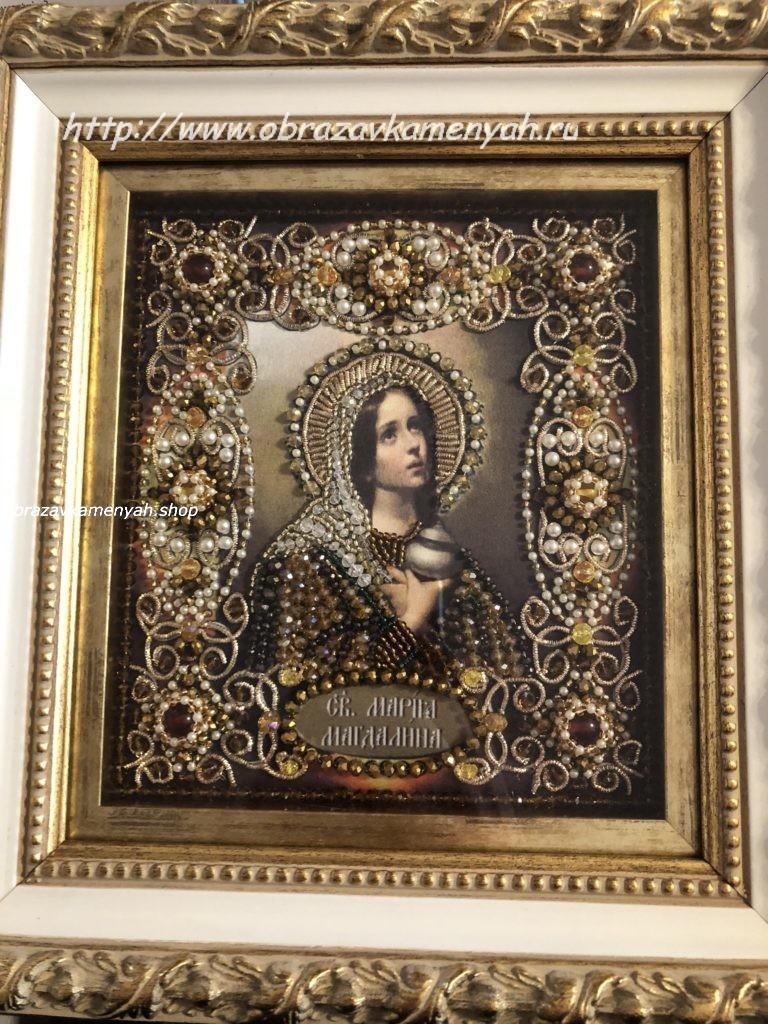 """""""Образа в каменьях"""" Святая Мария Магдалина - вышитая работа"""