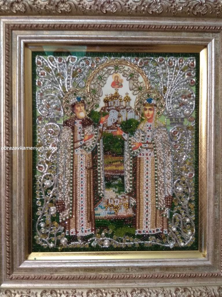 Образа в каменьях икона Святые Петр и Феврония арт. 7733 готовая работа