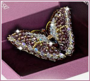 Образа в каменьях Брошь Swarovski Бабочка Аметист 7,5х3,5см арт. 77-Б-02(S)