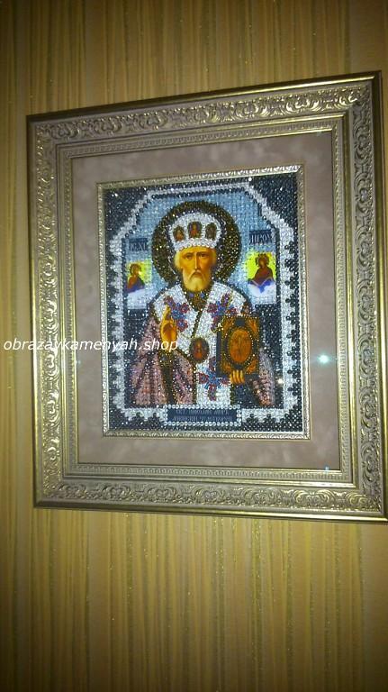 Образа в каменьях икона Николай Чудотворец фото готовой работы