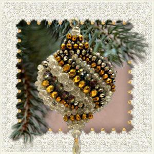 Образа в каменьях магнит Новогодний шар арт. М-09