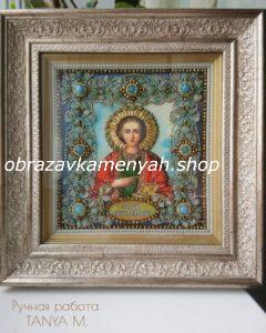 Образа в каменьях икона Святой Пантелеймон фото вышитой иконы