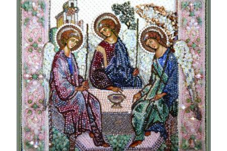 Образа в каменьях икона Святая Троица арт. 7741